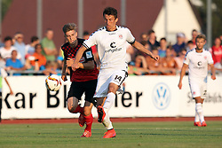 14.07.2015, Zeppelinstadion, Friedrichshafen, GER, Testspiel, FC St. Pauli vs SC Freiburg, im Bild Lucas Hufnagel ( SC Freiburg ) rechts Ante Budimir ( FC St.Pauli ) // during a preperation Football Match between FC St. Pauli vs SC Freiburg at the Zeppelinstadion in Friedrichshafen, Germany on 2015/07/14. EXPA Pictures © 2015, PhotoCredit: EXPA/ Eibner-Pressefoto/ Langer<br /> <br /> *****ATTENTION - OUT of GER*****