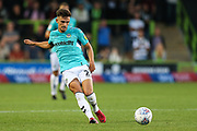 Forest Green Rovers Liam Shephard(2) passes the ball forward during the EFL Sky Bet League 2 match between Forest Green Rovers and Stevenage at the New Lawn, Forest Green, United Kingdom on 21 August 2018.