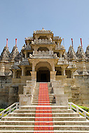 The entrance to the main carved marble Jain temple at Ranakpur, Rajasthan, India