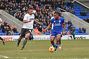 Oldham Athletic Forward, Dominic Poleon looks to make a break through the middle and skips past Bury Defender, Reece Brown during the Sky Bet League 1 match between Oldham Athletic and Bury at Boundary Park, Oldham, England on 23 January 2016. Photo by Mark Pollitt.