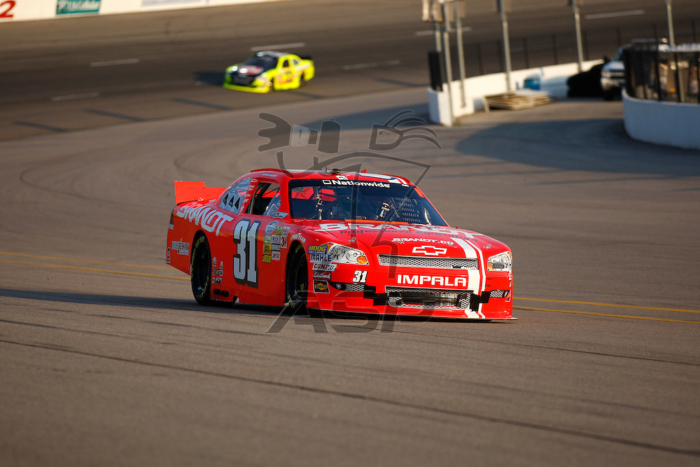 NEWTON, IA - AUG 03, 2012:  Justin Allgaier (31) brings his car through the turns during the U.S. Cellular 250 Sprint Cup Series race at the Iowa Speedway in Newton, IA.