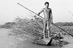 BANGLADESH BARISAL DISTRICT KATTAMBARI SEP94 - A Bengali man stands on his boat carrying firewood. Boats are the only means of transport in the swamped Ganges River Delta...jre/Photo by Jiri Rezac..© Jiri Rezac 1994