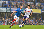 Portsmouth Defender, Christian Burgess (6) and Rotherham United Forward, Kieffer Moore (24) during the EFL Sky Bet League 1 match between Portsmouth and Rotherham United at Fratton Park, Portsmouth, England on 3 September 2017. Photo by Adam Rivers.