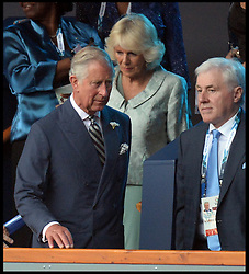 Image licensed to i-Images Picture Agency. 23/07/2014. Glasgow, United Kingdom.  The Prince of Wales and The Duchess of Cornwall  join The Queen with The Duke of Edinburgh during the opening ceremony of  the Commonwealth Games in Glasgow.. Picture by Andrew Parsons / i-Images