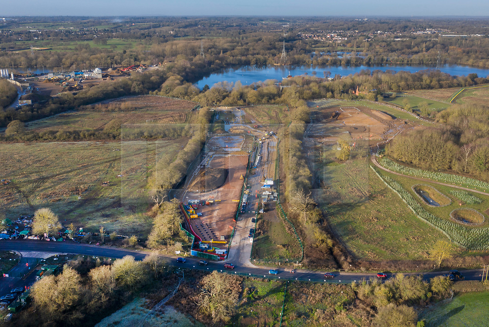 VIDEO AVAILABLE : https://we.tl/t-SQVmqbvcNl © Licensed to London News Pictures. 29/01/2020. London, UK. Preparation for the High Speed Two (HS2) rail line continues west of Newyears Green looking towards The Grand Union Canal and lakes at the Hillingdon Outdoor Activities Centre in the London Borough of Hillingdon.  A government decision is expected soon on whether the HS2 rail project will fully go ahead with some budget estimates showing a cost of £70-£80bn. Photo credit: Peter Macdiarmid/LNP