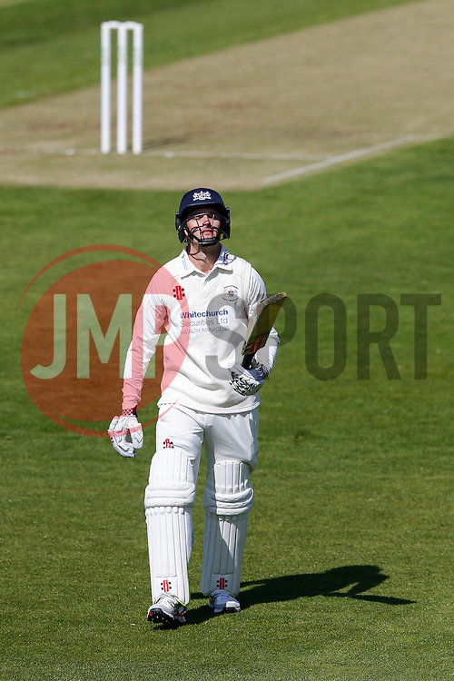 Gareth Roderick of Gloucestershire looks dejected as he leaves the field after being Caught out for 28 by Sam Billings (b. Darren Stevens) - Photo mandatory by-line: Rogan Thomson/JMP - 07966 386802 - 18/05/2015 - SPORT - CRICKET - Bristol, England - Bristol County Ground - Gloucestershire v Kent - Day 1 - LV= County Championship Division Two.