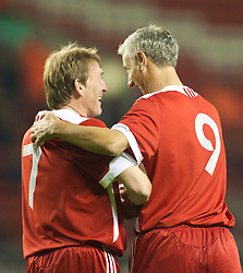 LIVERPOOL, ENGLAND - Thursday, May 14, 2009: Liverpool Legends' player/manager Kenny Dalglish celebrates scoring against All Stars with Ian Rush during the Hillsborough Memorial Charity Game at Anfield. (Photo by David Rawcliffe/Propaganda)