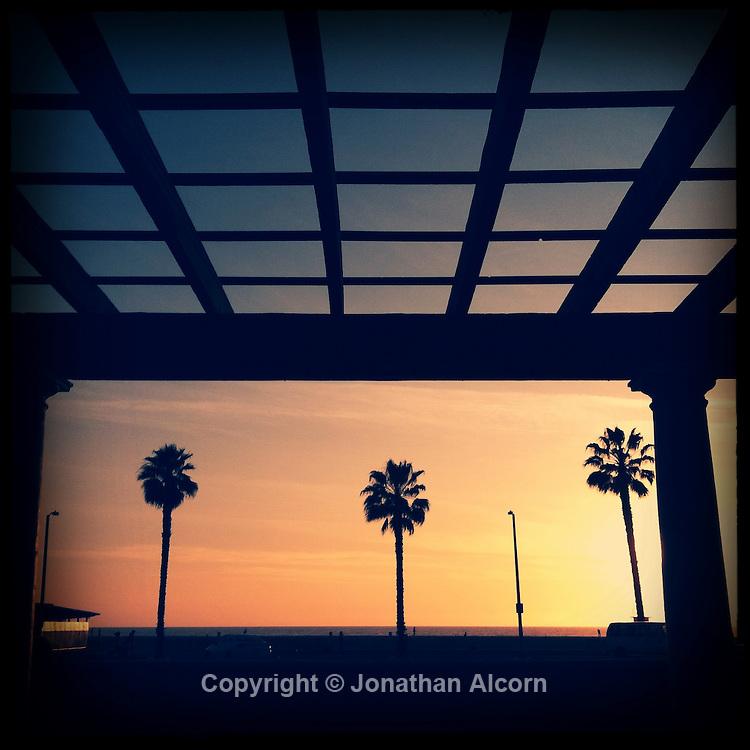 Sunset at Santa Monica, California