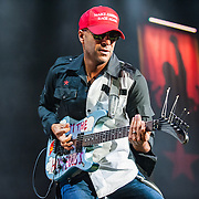 "Fairfax, VA-August 19, 2016-Prophets of Rage perform at EagleBank Arena on the opening night of their ""Make America Rage Again"" tour. (Photo by Richie Downs)"