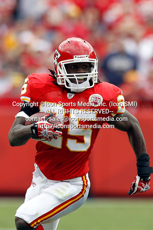 31 October 2010: Chiefs running back Jamaal Charles. The Kansas City Chiefs defeated the Buffalo Bills 13 to 10 in the final seconds of overtime at Arrowhead Stadium in Kansas City, Missouri.