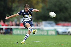 Bristol Rugby replacement Adrian Jarvis scores a penalty - Mandatory byline: Dougie Allward/JMP - 07966 386802 - 13/09/2015 - RUGBY UNION - Old Deer Park - Richmond, London, England - London Welsh v Bristol Rugby - Greene King IPA Championship.