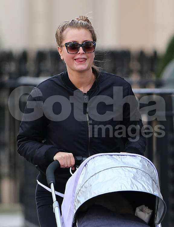 Holly Valance out with her baby girl Luka Violet Toni in London, UK. 06/03/2014<br />