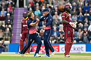 Wicket - Tom Curran of England celebrates taking the wicket of Chris Gayle of of West Indies during the One Day International match between England and West Indies at the Ageas Bowl, Southampton, United Kingdom on 29 September 2017. Photo by Graham Hunt.