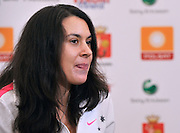 MARION BARTOLI (FRANCE) DURING TV INTERVIEW WHILE  INTERNATIONAL WOMEN TENNIS TOURNAMENT WTA POLSAT WARSAW OPEN AT LEGIA'S COURTS IN WARSAW, POLAND...WARSAW , POLAND , MAY 17, 2010..( PHOTO BY ADAM NURKIEWICZ / MEDIASPORT )..PICTURE ALSO AVAIBLE IN RAW OR TIFF FORMAT ON SPECIAL REQUEST.