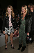 Kate Moss with her sister Lottie at Topshop Unique on day 3 of London Fashion Week February 15 2014.<br /> <br /> <br /> Photo by Ki Price