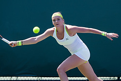 March 20, 2018 - Key Biscayne, FL, U.S. - Key Biscayne, FL - MARCH 20: Tereza Martincova (CZE) competes during the qualifying round of the 2018 Miami Open on March 20, 2018, at Tennis Center at Crandon Park in Key Biscayne, FL. (Photo by Aaron Gilbert/Icon Sportswire) (Credit Image: © Aaron Gilbert/Icon SMI via ZUMA Press)