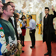 NO REPRO FEE<br /> 25/12/2014<br /> Special visitors on Christmas Day in Temple Street Children&rsquo;s Hospital<br /> Danny from the Script makes little kid&rsquo;s Christmas with hospital visit.<br /> Pictured here are Danny with carol singers.<br /> Danny O&rsquo;Donoghue showed a heart of gold when he turned up at Temple Street&rsquo;s Children&rsquo;s Hospital on Christmas Day. The Script&rsquo;s frontman spent a number of hours on Christmas morning visiting children at their bedside along with Santa, the Lord Mayo.&nbsp;Last year, almost 400 children were cared for in Temple Street on Christmas Eve and Christmas Day &amp; a visit from Danny helped bring the magic of Christmas to Temple Street for the children and babies who are too ill or weak to make it home. Danny said of his work with Temple Street &ldquo;It&rsquo;s amazing to be involved with Temple Street, it&rsquo;s the greatest hospital on the planet. It&rsquo;s really humbling to see the children, families, doctors and nurses in Temple Street; they are all true superheroes.&quot;<br /> Pic: Alan Rowlette Photography<br /> -ENDS-