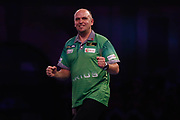 WINNER Darius Labanauskas celebrates his win against Raymond van Barneveld's during his Second Reound match of the World Championship Darts 2018 at Alexandra Palace, London, United Kingdom on 17 December 2018.