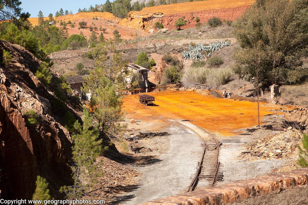 Old work buildings opencast mineral extraction Minas de Riotinto mining area, Huelva province, Spain