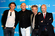 Uitreiking van de Edison POP 2014 awards in de The Harbour Club, Amsterdam<br /> <br /> Op de foto:  BLØF -  Paskal Jakobsen , Bas Kennis , Peter Slager ,<br /> Norman Bonink