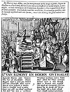 Decapitation of Count Egmont and Hoorn (1568) at Brussels during Spanish tyranny in Netherlands. Duke of Alva, mounted centre right, enforced brutal Spanish (Roman Catholic) rule in Protestant Netherlands 1567-73. Lamoral, Count of Egmont (1522-68), Flemish soldier and statesman is the subject of the Beethoven 'Egmont' overture.