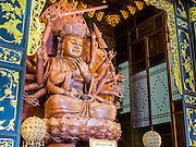 08 OCTOBER 2014 - GEORGE TOWN, PENANG, MALAYASIA: A carved Buddha statue at the Kek Lok Si Temple in George Town (also Georgetown), the capital of the state of Penang in Malaysia. Named after Britain's King George III, George Town is located on the north-east corner of Penang Island. The inner city has a population of 720,202 and the metropolitan area known as George Town Conurbation which consists of Penang Island, Seberang Prai, Kulim and Sungai Petani has a combined population of 2,292,394, making it the second largest metropolitan area in Malaysia. The inner city of George Town is a UNESCO World Heritage Site and one of the most popular international tourist destinations in Malaysia.      PHOTO BY JACK KURTZ