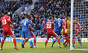 Brighton's Lewis Dunk opens the scoring 1-0 during the Sky Bet Championship match between Brighton and Hove Albion and Nottingham Forest at the American Express Community Stadium, Brighton and Hove, England on 7 February 2015. Photo by Phil Duncan.