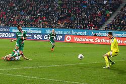 23.11.2013, SGL Arena, Augsburg, GER, 1. FBL, FC Augsburg vs TSG 1899 Hoffenheim, 13. Runde, im Bild v l Doppeltorschuetze Halil Altintop (# 7, FC Augsburg) erzielt das 2:0 Andreas Beck (# 2, TSG Hoffenheim), Torhueter Koen Casteels (# 30, TSG Hoffenheim) koennen es nicht verhindern<br /> <br /> 23 11 2013, Fussball, 1 Bundesliga, FFC Augsburg vs TSG Hoffenheim  Foto: EIBNER  // during the German Bundesliga 13th round match between FC Augsburg and TSG 1899 Hoffenheim at the SGL Arena in Augsburg, Germany on 2013/11/23. EXPA Pictures © 2013, PhotoCredit: EXPA/ Eibner-Pressefoto/ Fastl<br /> <br /> *****ATTENTION - OUT of GER*****