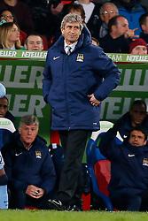 Manchester City Manager Manuel Pellegrini looks frustrated - Photo mandatory by-line: Rogan Thomson/JMP - 07966 386802 - 06/04/2015 - SPORT - FOOTBALL - London, England - Selhurst Park - Crystal Palace v Manchester City - Barclays Premier League.