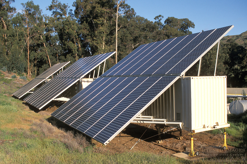 Solar photo-electric generating cell panels, Main Ranch, Santa Cruz Island, Channel Islands, California