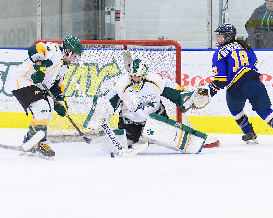 1st year goalie Morgan Baker (30) of the Regina Cougars in action during the Women's Hockey Home Game on October 14 at Co-operators arena. Credit: Arthur Ward/Arthur Images