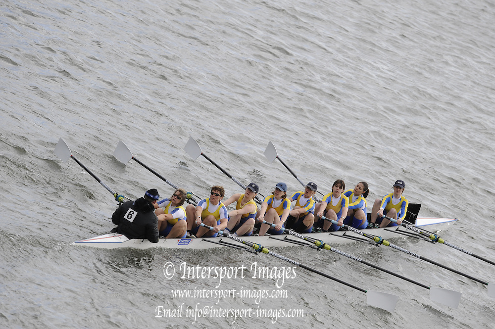 Chiswick, GREAT BRITAIN, Peterborough City RC,  pass  under Chiswick Bridge, in the opening stages of the  2008  Women's Head of the River race,   01/03/2008  2008. [Mandatory Credit, Peter Spurrier/Intersport-images] Rowing Course: River Thames, Championship course, Putney to Mortlake 4.25 Miles,