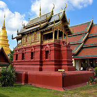 Temple Buildings at Wat Phra That Hariphunchai in Lamphun, Thailand<br />
