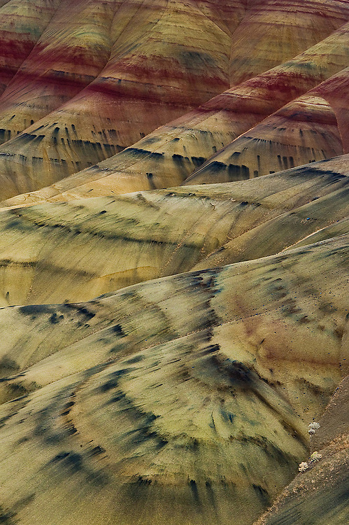 Tie-dye patterns in the painted hills of John Day Fossil Beds National Monument, Oregon.