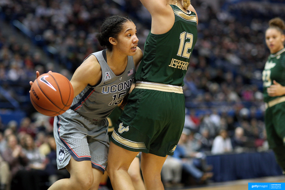 HARTFORD, CONNECTICUT- JANUARY 10: Gabby Williams #15 of the Connecticut Huskies in action while defended by Maria Jespersen #12 of the South Florida Bulls during the the UConn Huskies Vs USF Bulls, NCAA Women's Basketball game on January 10th, 2017 at the XL Center, Hartford, Connecticut. (Photo by Tim Clayton/Corbis via Getty Images)
