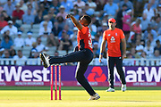 Chris Jordan of England bowling during the International T20 match between England and Australia at Edgbaston, Birmingham, United Kingdom on 27 June 2018. Picture by Graham Hunt.