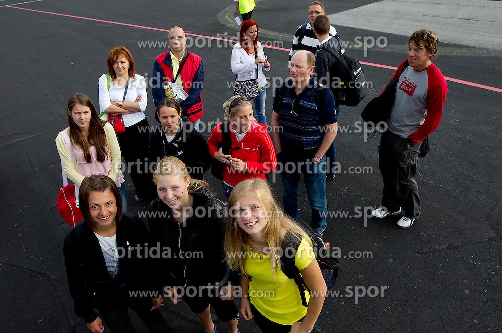 at departure of Slovenia athletic national team from Airport Jozeta Pucnika Ljubljana to Barcelona to the European Athletics Championships 2010, on July 25, 2010 in Brnik, Slovenia. (Photo by Vid Ponikvar / Sportida)