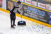 2019-11-30 | Rauma, Finland : Linesman cleaning paper off the ice during the game between Lukko-Ässät in Kivikylän Areena ( Photo by: Elmeri Elo | Swe Press Photo )