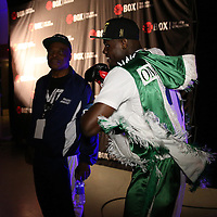 Omotunde Tabiti is seen backstage during Showtime Televisions ShoBox:The Next Generation boxing match at the Event Center at Turning Stone Resort Casino on Friday, February 28, 2014 in Verona, New York.  (AP Photo/Alex Menendez)