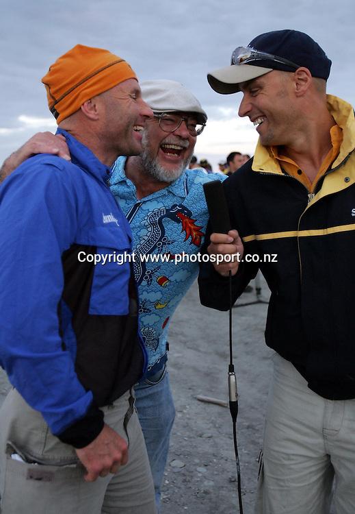 Coast to Coast legend, Steve Gurney (L) with Race Director, Robin Judkins and John McKenzie before the start of the Speight's Coast to Coast Endurance Race from Kumara through to Sumner, Christchurch on Friday 4th February, 2005.<br />PHOTO: Hannah Johnston/PHOTOSPORT