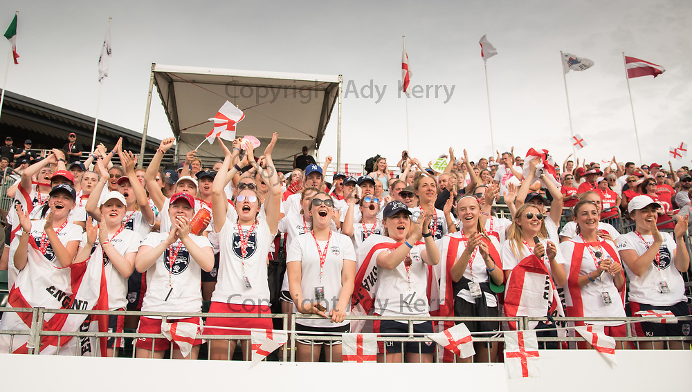 England fans cheer the team before the game against Canada at the 2017 FIL Rathbones Women's Lacrosse World Cup at Surrey Sports Park, Guilford, Surrey, UK, 15th July 2017