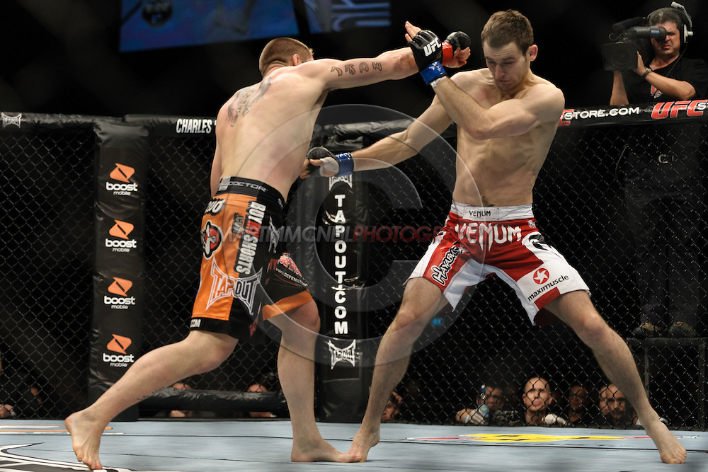 OBERHAUSEN, GERMANY, NOVEMBER 13, 2010: Duane Ludwig and Nick Osipczak during UFC 122 inside the Konig Pilsner Arena in Oberhausen, Germany.