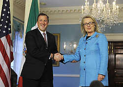 U.S. Secretary of State Hillary Clinton (R) speaks with Mexican Foreign Secretary Jose Antonio Meade at the Department of State in Washington D.C., capital of the United States, Jan. 30, 2013. It was the last bilateral meeting for Hillary Clinton as Secretary of State, January 30, 2013. Photo by Imago / i-Images..UK ONLY