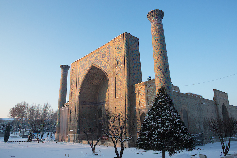 Snow on the Silk Road: winter scene of the Ulugbek Madrasah. Feb 5-6, 2014 saw a rare sustained snowy period in Samarkand, Uzbekistan, breaking record lows and resulting in school closures and power outages