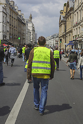 May 25, 2019 - Paris, France - Protesters marched throughout the streets of Paris to protest Macron and the Upcoming European Parliamentary Elections during Act 28 of the Gilets Jaunes protest in Paris, France, on 25 May 2019 and ended with confrontations with riot police at Republique. (Credit Image: © Shay Horse/NurPhoto via ZUMA Press)