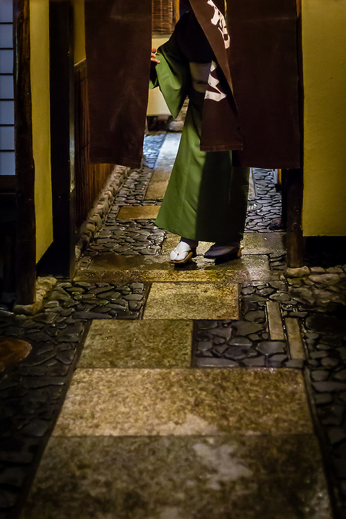When a client approaches the entrance of one of the restaurants or tea houses in the Gion district of Kyoto, someone from the inside always comes to receive him.