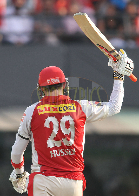 Kins XI Punjab captain David Hussey raises his bat after reaching his fifty during match 33 of the the Indian Premier League (IPL) 2012  between The Kings X1 Punjab and The Mumbai Indians held at the Punjab Cricket Association Stadium, Mohali on the 25th April 2012..Photo by Shaun Roy/IPL/SPORTZPICS