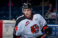 KELOWNA, CANADA - NOVEMBER 25: Cole Clayton #34 of the Medicine Hat Tigers warms up against the Kelowna Rockets on November 25, 2017 at Prospera Place in Kelowna, British Columbia, Canada.  (Photo by Marissa Baecker/Shoot the Breeze)  *** Local Caption ***