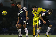 Picture by David Horn/Focus Images Ltd +44 7545 970036.11/12/2012.Chris Barker and Luke Prosser of Southend United and David Worrall (centre) of Bury during the The FA Cup match at Roots Hall, Southend.