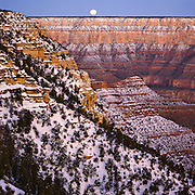 Winter monnset from Pima Point on the South Rim of the Grand Canyon in Arizona